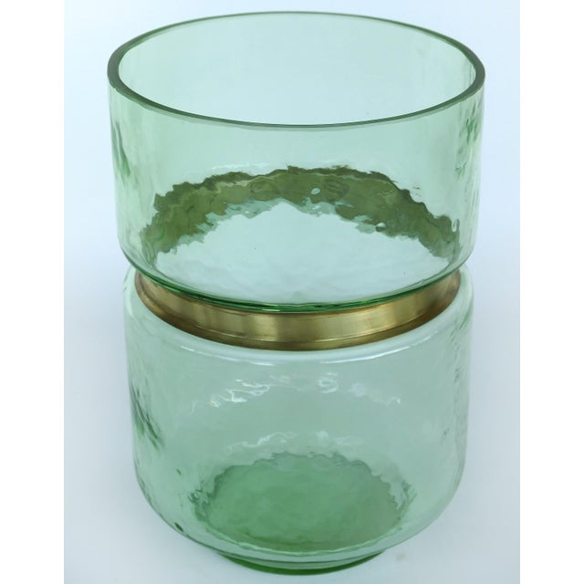 Hand-Blown Lava Glass Vase W/ Gilt-Metal Banding- Pair Available For Sale In Miami - Image 6 of 6