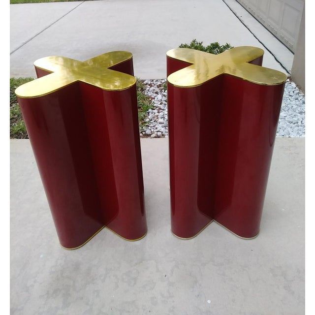 "This is an unbelievable Rare pair of cherry red ""X"" shaped table bases done in the style of Curtis Jere or Mastercraft..."