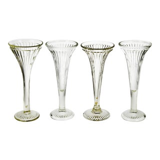 Vintage Fluted Glass Centerpiece Stands - Group of 4 For Sale