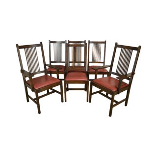 Stickley Mission Collection Oak Set 6 Spindle Dining Chairs For Sale