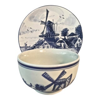 Vintage Delft Handpainted Decorative Bowl and Plate - Set of 2 For Sale