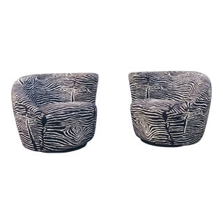Vladimir Kagan Zebra Print Nautilus Swivel Chairs-A Pair For Sale