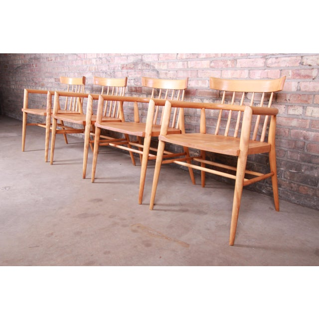 Paul McCobb Planner Group Solid Maple Spindle Back Armchairs - Set of 4 For Sale - Image 13 of 13