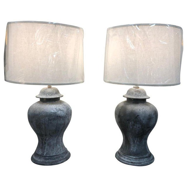 Late 19th Century Antique English Metal Urn Lamps - a Pair For Sale - Image 5 of 5