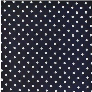 Jeanne Dot CL Navy Blue White Linen Print Upholstery Fabric by Ralph Lauren For Sale