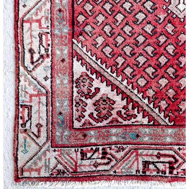 Strawberry & Mint Vintage Persian Rug - 3′3″ × 4′11″ - Image 4 of 5
