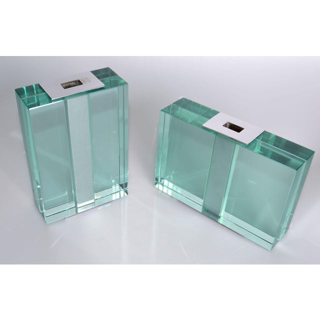 Original 1950s Fontana Arte Art Glass Vases, a pair, No 2392 + No 2049 Heavy rectangular blocks of clear glass around a...