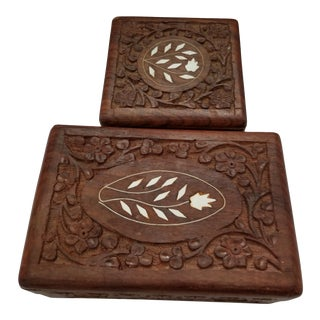 1970s Vintage India Carved Wood Trinket Box or Jewelry Box - Set of 2 For Sale