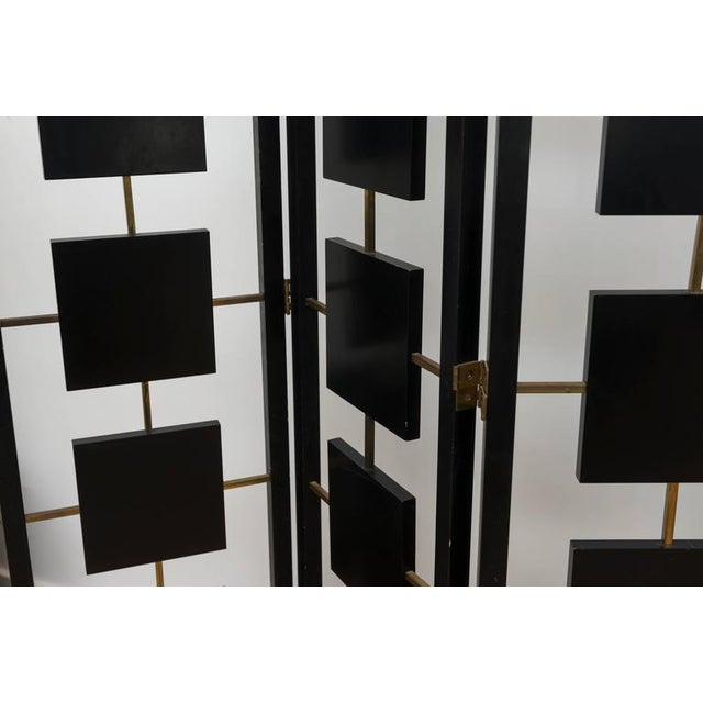 Black Brass & Black Lacquer Six-Panel Screen For Sale - Image 8 of 11