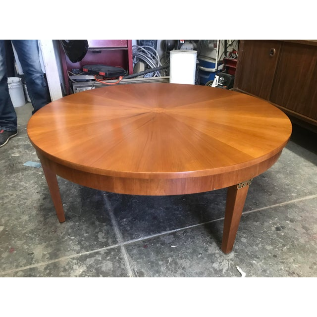 Cherry Wood Round Coffee Table by Baker For Sale - Image 10 of 10