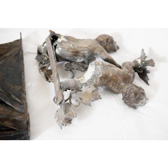 Brass Brass & Spelter Putti/Cherubs with Bird Ledge Mount For Sale - Image 7 of 8