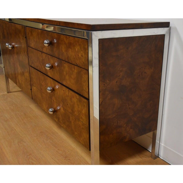 Art Deco Tomlinson Burl and Chrome Credenza For Sale - Image 3 of 11