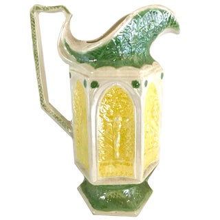 Mid-Century Green and Yellow Ceramic Pitcher For Sale