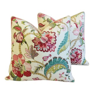 """French Jacobean Floral Feather/Down Pillows 24"""" Square - Pair For Sale"""