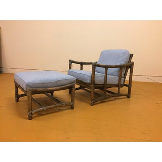 McGuire Vintage Lounge Chair and Matching Ottoman, New Upholstery Preview
