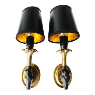 Brass and Black Maison Lancel Wall Sconces - a Pair For Sale
