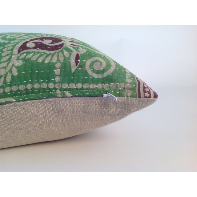 Vintage Block Printed Kantha Quilt Pillow For Sale - Image 4 of 4