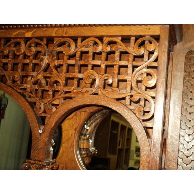 Late 19th Century Highly Carved Oak Fireplace Mantel For Sale In Saint Louis - Image 6 of 12