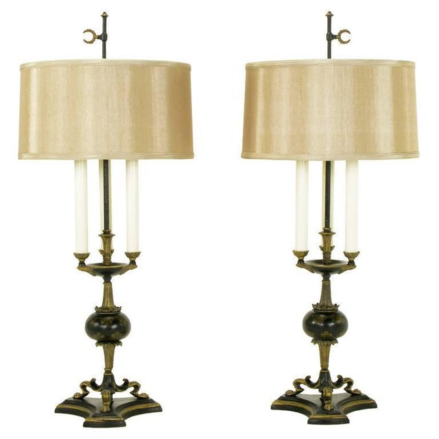 Black Elegant Pair of Empire Table Lamps in Black Lacquer and Gold Leaf For Sale - Image 8 of 8