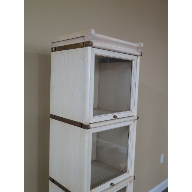 Globe Wernicke Transitional Globe Wernicke 4 Section White Stacking Narrow Bookcase For Sale - Image 4 of 13