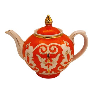 Vintage 1950s Large Size Uzbek Ceramic Teapot For Sale