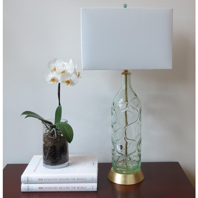 Modern Green Blown Glass Lamps - A Pair - Image 9 of 9