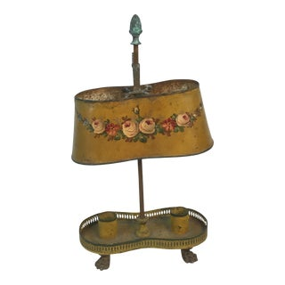 Petite Victorian Tole Hand Painted Warming Candle Table Lamp For Sale