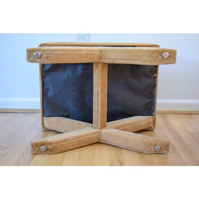 """Vintage Mid Century Tan Mohair """"X"""" Benches- A Pair For Sale In Washington DC - Image 6 of 12"""