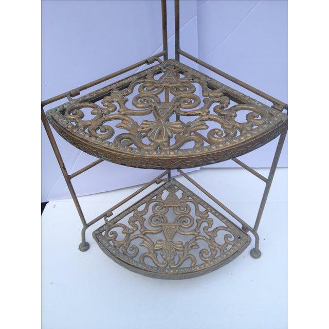 Folding Brass Corner Table For Sale - Image 4 of 6