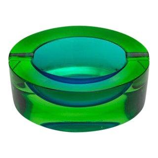 "1960s Mid-Century Modern Seguso Murano ""Uranium"" Blue/Green Glass Dish For Sale"