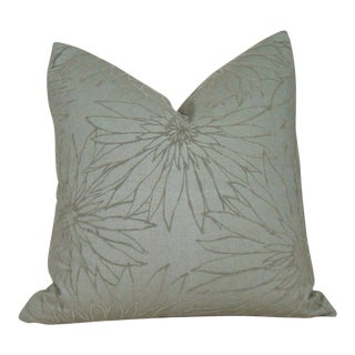 Sage Green Flocked Floral Linen Pillow Cover For Sale