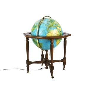 "1981 Vintage Italy 20"" Geoscope Illuminated World Floor Globe For Sale"