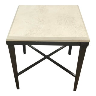 Modern Patio End Table With Travertine Top For Sale