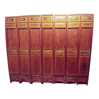 Antique Chinese Hand Painted Wood 7-Panel Room Divider/Screen For Sale