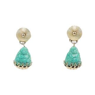 1960s Napier Faux-Jade Rhinestone Buddha Drop Earrings For Sale