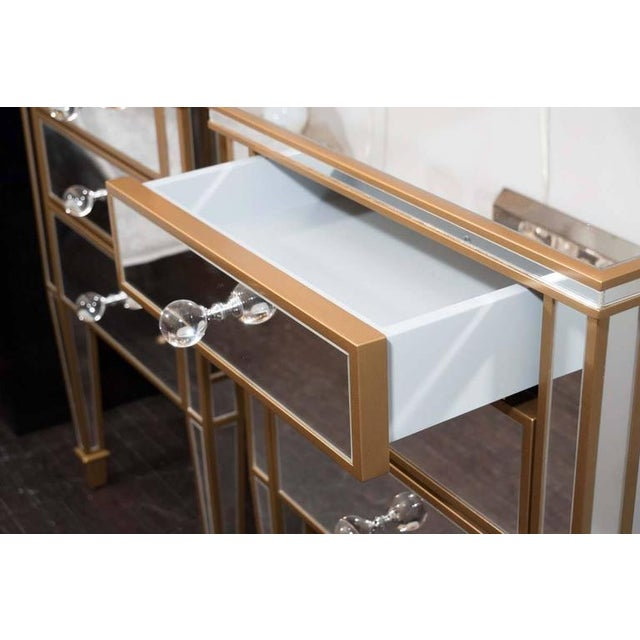 Pair of Custom Gold Trim, Mirrored Commodes For Sale In New York - Image 6 of 8