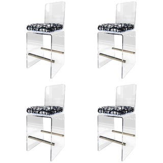"Charles Hollis Jones ""Waterfall"" Counter Stools in Lucite and Stainless Steel For Sale"