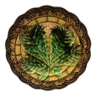 19th Century Villeroy & Boch Majolica Chestnut Leaf Plate For Sale