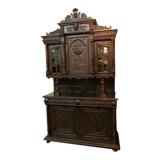 19th Century Antique French Walnut Court China Cabinet For Sale