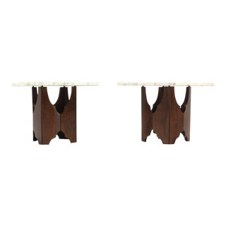 Mid-Century Modern Walnut Base Square Marble Top End Side Tables- a Pair For Sale