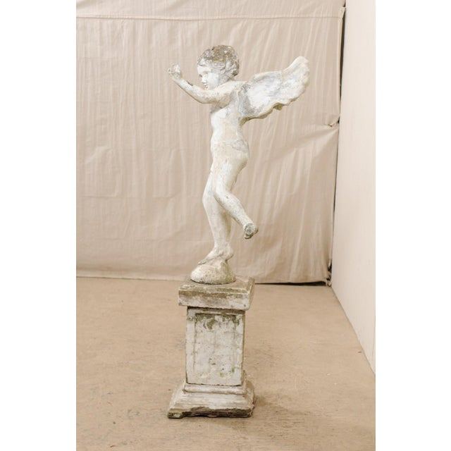 Concrete Early 20th Century French Antique Cupid Garden Statue For Sale - Image 7 of 12