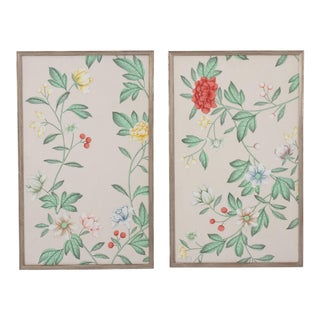 Pair of Framed Pale Pink Chinoiserie Hand-Painted Wallpaper Remnants