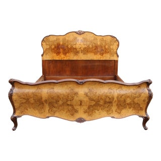 Early 18th Century French Full Double Carved Walnut Bombe Bedframe For Sale