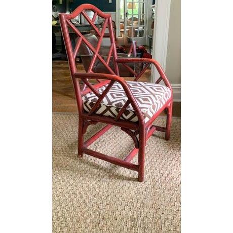 Wood Vintage Chinese Chippendale Fretwork Chair For Sale - Image 7 of 7