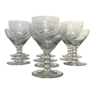 Vintage Crystal Cut Wheat Pattern Stemware Glasses - Set of 10 For Sale