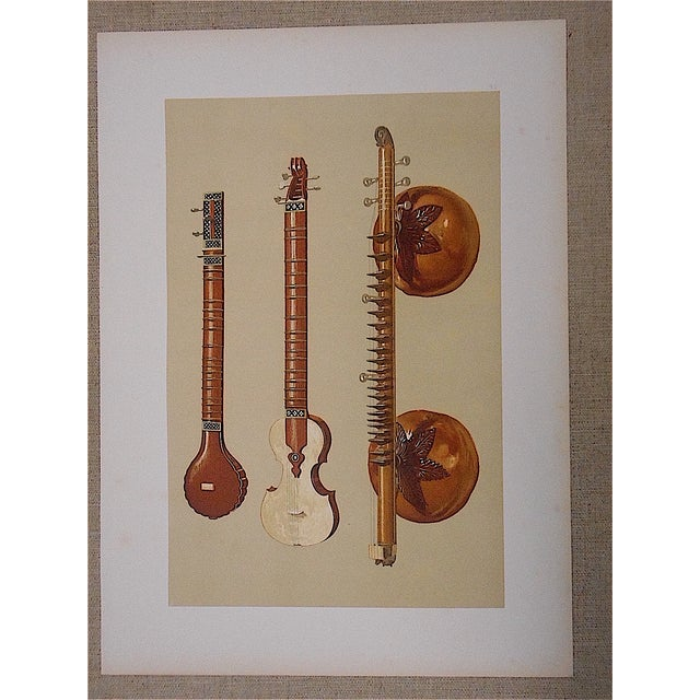 Antique Lithograph of Musical Instruments, India - Image 2 of 5