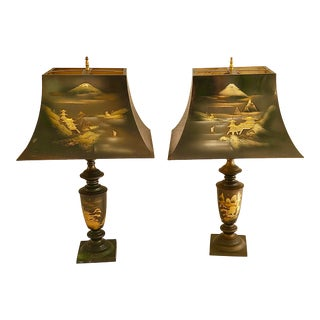 1950s Mid-Century Japanese Art of Chokin Metal Gold Silver Etched Lamps - a Pair For Sale