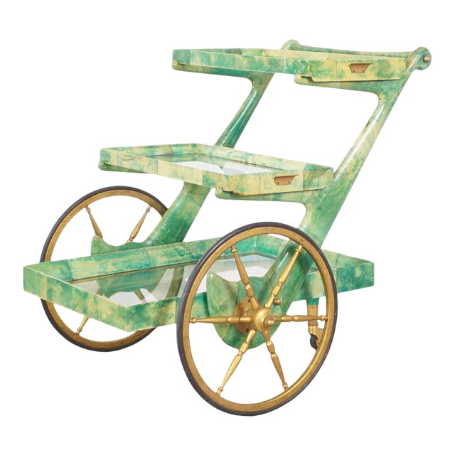 Italian Modernist Goatskin Bar Cart by Aldo Tura For Sale