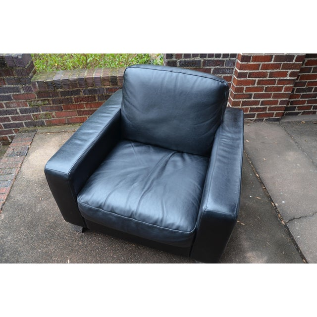 Natuzzi Italian Modern Black Leather Club Chair For Sale In Richmond - Image 6 of 9
