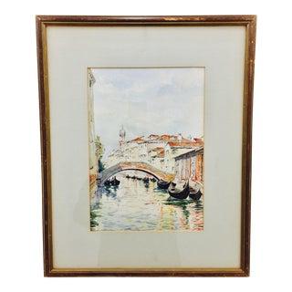 Vintage Venetian Watercolor Painting